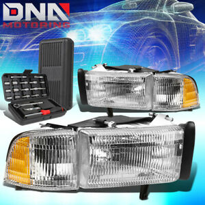 For 1994 2002 Dodge Ram 1500 3500 Chrome Amber Signal Headlight Head Lamps tools