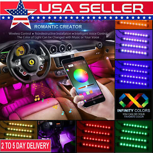 4pcs 48 Led Music Bluetooth App Controller Interior Atmosphere Car Strip Lights