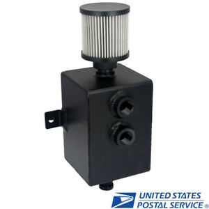 Black Aluminum 2l Engine Oil Catch Can Tank An10 W Breather Drain Tap Baffled