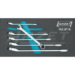 Hazet 6 Piece Metric 12 Point Angled Head Ratcheting Combination Wrench Set