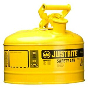 Justrite 7125200 2 5 Gal Yellow Type I Steel Diesel Liquids Safety Can