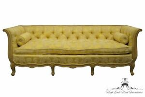 Vintage Louis Xvi French Provincial Golden Yellow Floral Pattern Tufted Uphol