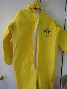 Box Of 4 Dupont Tychem Qc Qc127 Chemical Hazmat Coverall Suits X large Yellow Xl