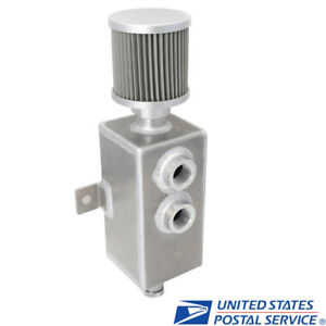 Universal Aluminum 1l Oil Catch Can Reservoir Tank Breather Filter Baffled Raw