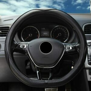 Genuine Leather D Cut Steering Wheel Cover Fit For Vw Nissan Toyota Flat Bottom