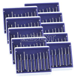 10 Kits Dental Carbide Burs Fg330 Pear shaped High Speed Handpiece Azdent