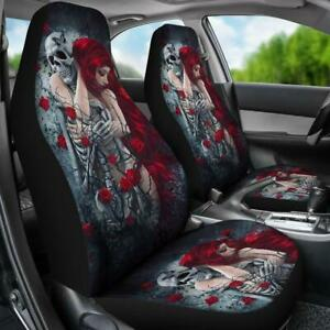 Set Of 2 Grim Reaper Gothic Skeleton Skull Girl Day Of The Dead Car Seat Cover