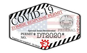 Chinese Virus Zombie Response Team Sticker Hunting Permit Decal Qty 1