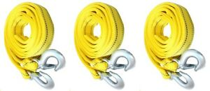 3 Pack 3 Tons Car Tow Cable Towing Strap Rope With 2 Hooks Emergency Heavy Duty