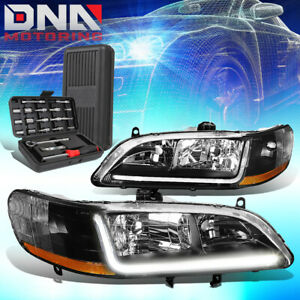 For 1998 2002 Honda Accord Led Drl Black Housing Amber Signal Headlights tools