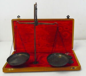 Large Antique Portable Jewelers Gold Scale W Weights In Wood Case Free Ship