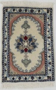 Floral Design Small Hand Knotted 1 4x2 Rare Tiny Nain Area Rug Oriental Carpet