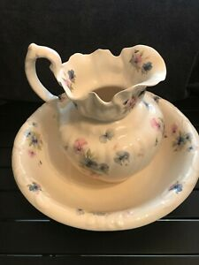 Vintage Ironstone Pitcher And Basin Wash Jug And Bowl White With Flowers