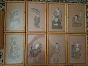Lot Of 9 Vintage Japanese Woodblock Prints Bamboo Frame 13 X 8 5 Inches