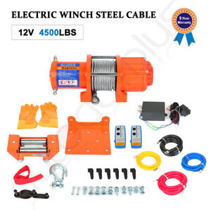 12v 4500lb Electric Winch Towing Trailer Steel Cable Off Road W Wireless Remote