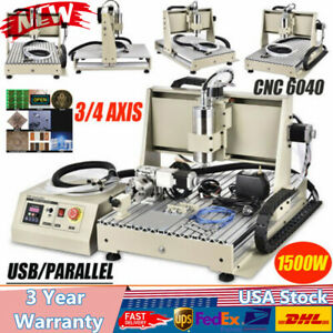 3 4axis 1 5kw Usb Cnc Router 6040t Engraver Metal Milling Drill Carver Machine
