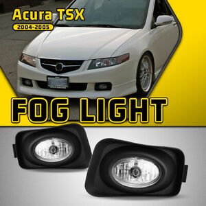 Fits 04 05 Acura Tsx Clear Fog Lights Glass Lamp Wiring Switch Kit H11 Bulbs