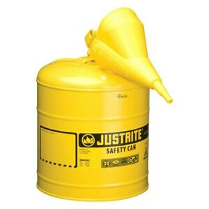 Justrite 5 Gal Yellow Type I Steel Diesel Liquids Safety Can W Funnel
