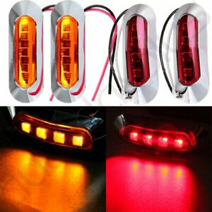 4pcs Amber Red 4led Side Marker Clearance Light Front Rear Truck Trailer