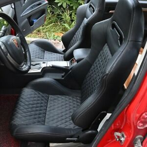 1 Pair Leather Racing Seats Reclinable W 2 Sliders Sport Bucket 2 Seat Black Red