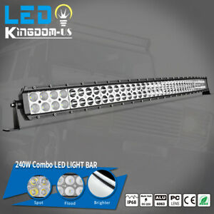 42inch Curved Led Work Light Bar Spot Flood Combo Offroad Driving Truck 4wd Atv
