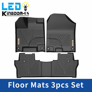 All Weather Floor Mats Liners For 2016 2020 Honda Pilot Rubber Black 3pcs Set