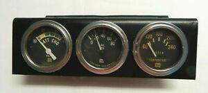 Vintage Stewart Warner 3 Panel Gauge Cluster Elect Water Temp Volt And Oil Press