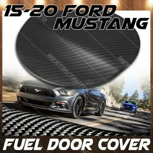 For 15 20 Ford Mustang Real Matte Carbon Fiber Gas Fuel Door Cover Overlay Trim