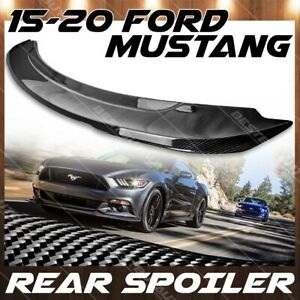 For 2015 2020 Ford Mustang Gloss Carbon Fiber Gt350 Gt550 Style Wing Spoiler Lid