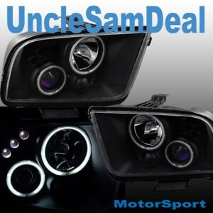 For 05 09 Ford Mustang X bright Led Halo Rims Clear Projector Black Headlights