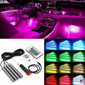 4x 36 Led Car Suv Interior Decor Neon Atmosphere Light Strip Remote Control Us