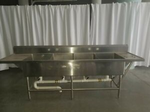 112 Heavy Duty 4 Compartment Stainless Sink With 2 Drain Boards 112 x30 x36