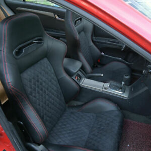 Faux Leather Racing Seats Sport Seats Reclinable Bucket Universal Black 2pcs