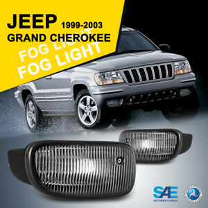For 99 03 Jeep Grand Cherokee Fog Lights Clear Driving Lamp H12 Bulbs Left right