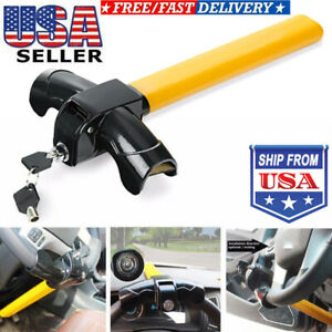 Universal T Shape Auto Anti Theft Car Security Rotary Steering Wheel Lock Steel