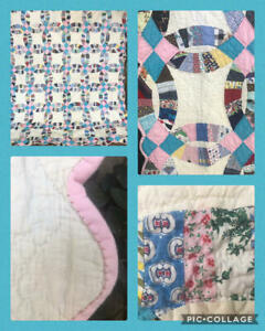Vintage 40s 50s Quilt Double Wedding Ring Feedsack Cotton Hand Stitched 82x95