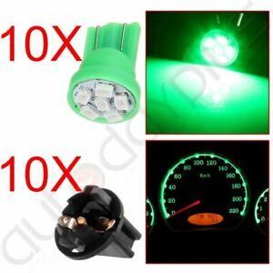 10x Green T10 194 168 6smd Led Dashboard Gauge Light 1 2 Hole Twist Lock Socket