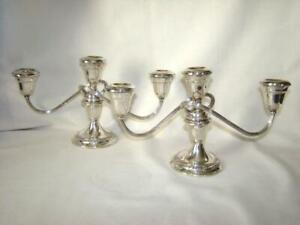 2 Vintage Gorham Twist Sterling Silver Weighted Candleabra Candlesticks 1 280