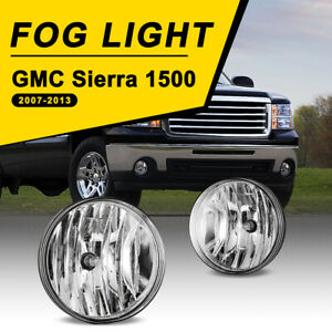 For 07 14 Gmc Sierra 1500 2500 Fog Lights Bumper Lamps Clear Lens Replace 1 Pair