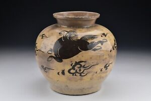 Chinese Yuan Dynasty Cizhou Pottery Vase With Horse