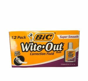 Bic White Out Correction Fluid Foam Brush Super Smooth 12 Pack