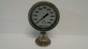New Old Stock Ashcroft 0 1000 Psi Aisi 316ss Pressure Gauge
