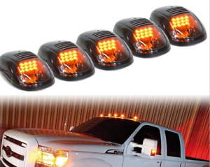 5x Led Cab Roof Top Marker Running Lights Smoked Amber For Truck Suv Pickup 4x4