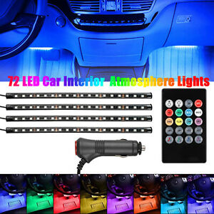 4pcs 72 Led Car Interior Cigarette Lighter Atmosphere Light Strip Remote Control