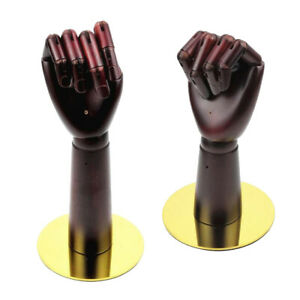 2x Solid Wood Flexible Mannequin Hand Gloves Jewelry Display Stand Holder