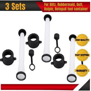3 Sets Gas Can Replacement Spouts Parts For Blitz Rubbermaid Rubbermade Model
