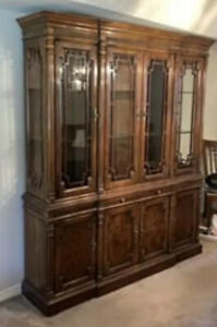 Vintage High End Drexel Heritage Solid Wood And Glass China Cabinet