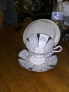 Queen Anne Bone China Silver Tea Cup And Saucer England 5693