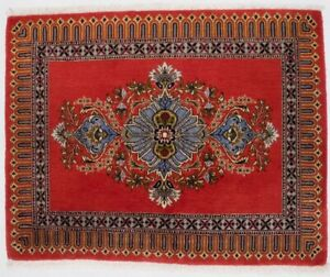 Hand Knotted Floral Orange Red 2x3 Vintage Small Entryway Rug Oriental Carpet