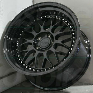 18 Inch Esr Sr01 Gloss Black Deep Dish Wheels 18x9 5 5x114 3 22 Rims Set 4
